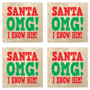 "4"" Absorbent Stone Christmas Drink Coasters, Santa Omg! I Know Him!, 2 Sets of 4, 8 Pieces - Christmas by Krebs Wholesale"