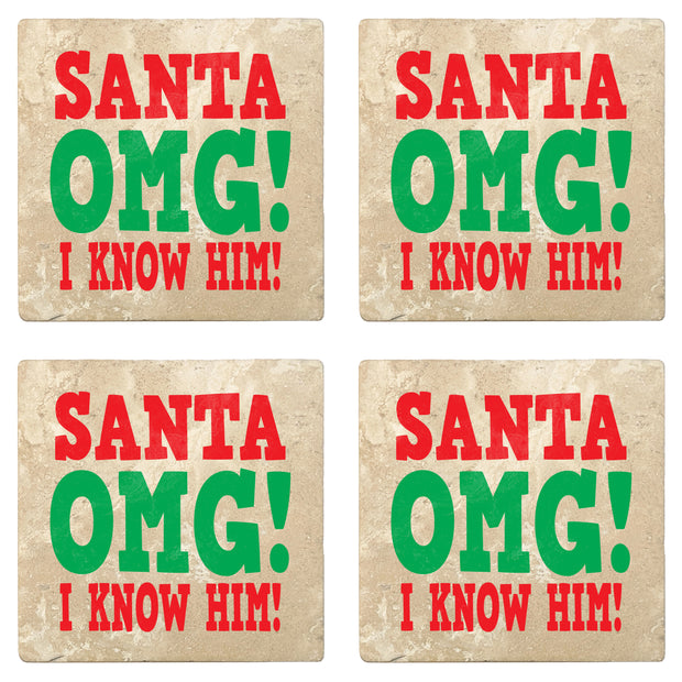 "4"" Absorbent Stone Christmas Drink Coasters, Santa Omg! I Know Him!, 2 Sets of 4, 8 Pieces"