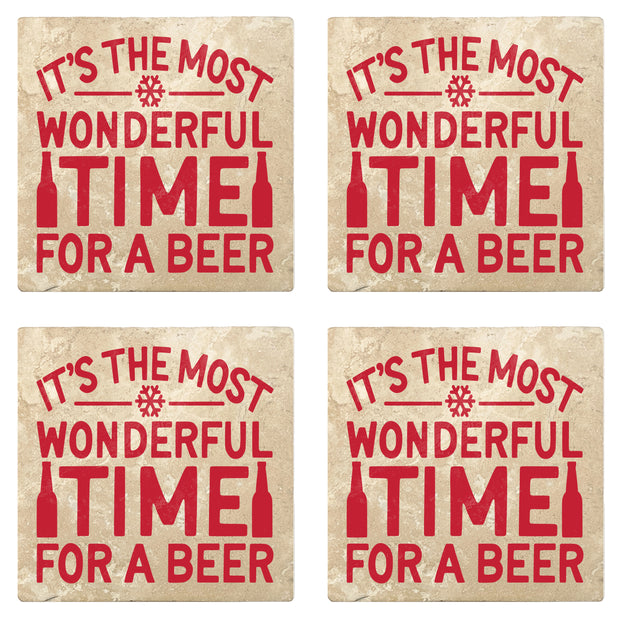 "4"" Absorbent Stone Christmas Drink Coasters, Its The Most Wonderful Time For A Beer, 2 Sets of 4, 8 Pieces"