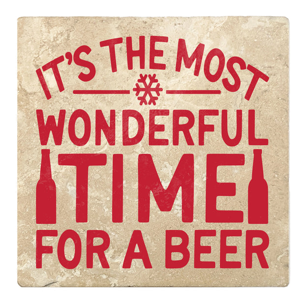 "4"" Absorbent Stone Christmas Drink Coasters, Its The Most Wonderful Time For A Beer, 2 Sets of 4, 8 Pieces - Christmas by Krebs Wholesale"