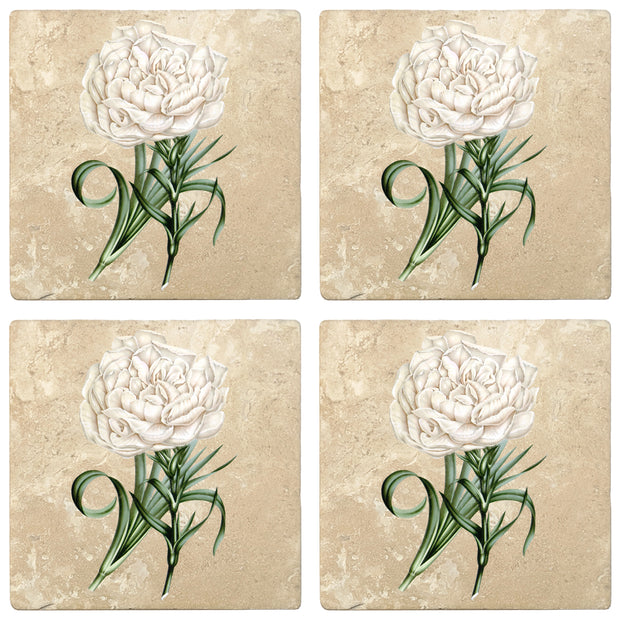 "4"" Absorbent Stone Flower Designs Drink Coasters, Eillet Carnation, 2 Sets of 4, 8 Pieces"