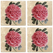 "4"" Absorbent Stone Flower Designs Drink Coasters, Tree Peony, 2 Sets of 4, 8 Pieces"