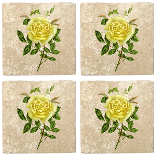 "4"" Absorbent Stone Flower Designs Drink Coasters, Amazone Rose, 2 Sets of 4, 8 Pieces"