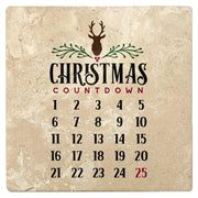 "4"" Absorbent Stone Christmas Drink Coasters, Christmas Countdown Calendar, 2 Sets of 4, 8 Pieces"