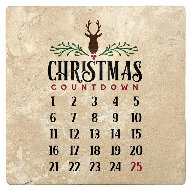 "4"" Absorbent Stone Christmas Drink Coasters, Christmas Countdown Calendar, 2 Sets of 4, 8 Pieces - Christmas by Krebs Wholesale"