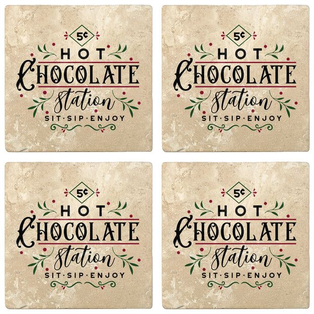 "4"" Absorbent Stone Christmas Drink Coasters, Hot Chocolate Station, 2 Sets of 4, 8 Pieces - Christmas by Krebs Wholesale"