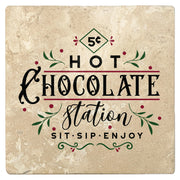 "4"" Absorbent Stone Christmas Drink Coasters, Hot Chocolate Station, 2 Sets of 4, 8 Pieces"