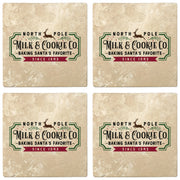 "4"" Absorbent Stone Christmas Drink Coasters, Milk and Cookie Company, 2 Sets of 4, 8 Pieces - Christmas by Krebs Wholesale"