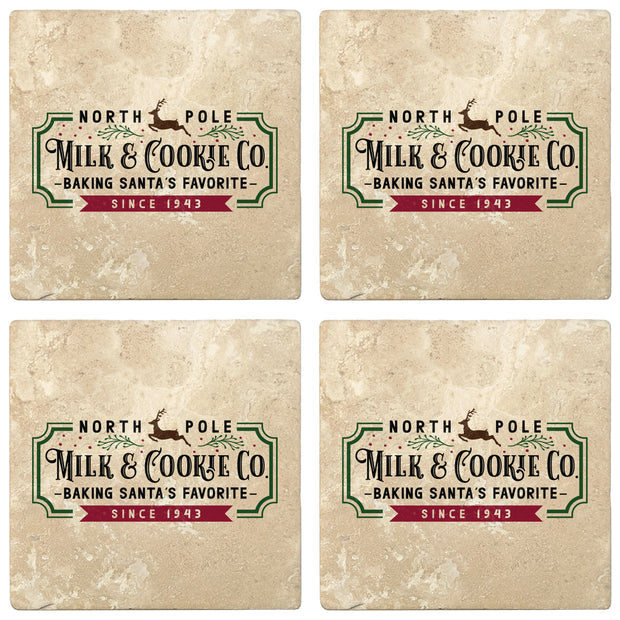 "4"" Absorbent Stone Christmas Drink Coasters, Milk and Cookie Company, 2 Sets of 4, 8 Pieces"