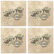 "4"" Absorbent Stone Christmas Drink Coasters, North Pole Santa Supply Company, 2 Sets of 4, 8 Pieces - Christmas by Krebs Wholesale"