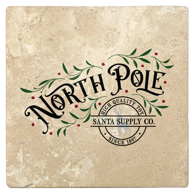 "4"" Absorbent Stone Christmas Drink Coasters, North Pole Santa Supply Company, 2 Sets of 4, 8 Pieces"