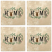"4"" Absorbent Stone Christmas Drink Coasters, Home, 2 Sets of 4, 8 Pieces"