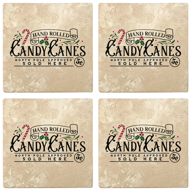 "4"" Absorbent Stone Christmas Drink Coasters, Candy Canes Sold Here, 2 Sets of 4, 8 Pieces"