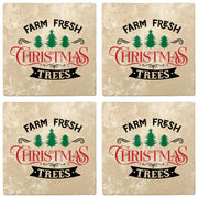 "4"" Absorbent Stone Christmas Drink Coasters, Farm Fresh Christmas Trees, 2 Sets of 4, 8 Pieces - Christmas by Krebs Wholesale"