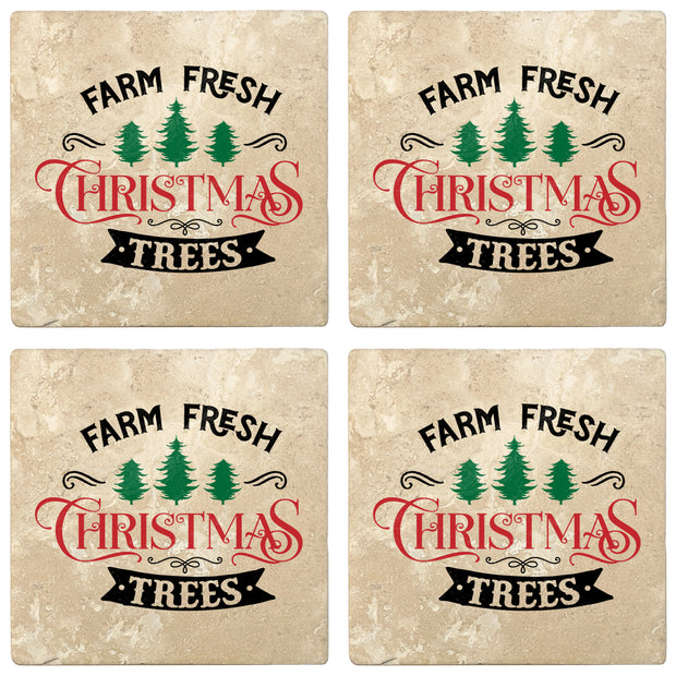 "4"" Absorbent Stone Christmas Drink Coasters, Farm Fresh Christmas Trees, 2 Sets of 4, 8 Pieces"