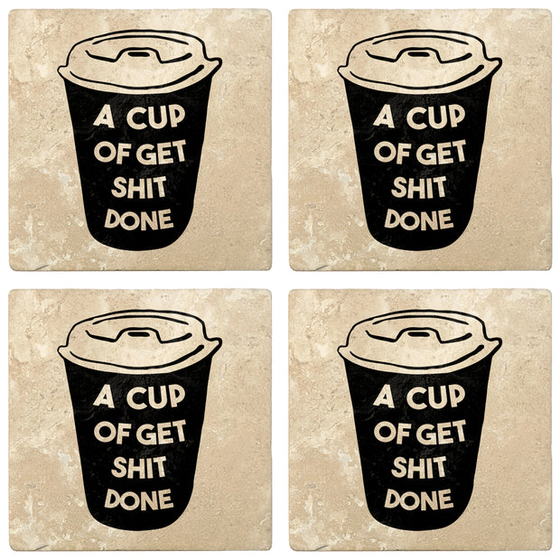 "4"" Absorbent Stone Coffee Gift Coasters, A Cup of Get S#!T Done, 2 Sets of 4, 8 Pieces"