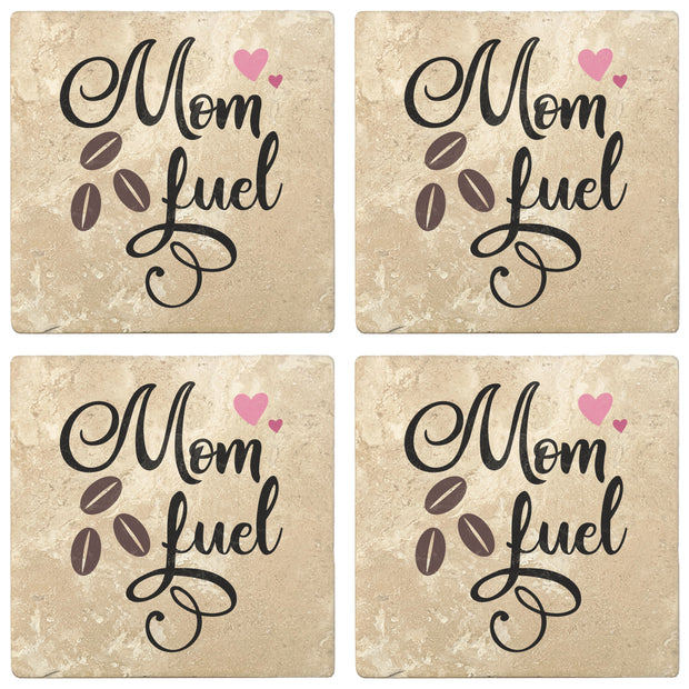 "4"" Absorbent Stone Coffee Gift Coasters, Mom Fuel, 2 Sets of 4, 8 Pieces"
