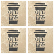 "4"" Absorbent Stone Coffee Gift Coasters, Coffee Before Talkie, 2 Sets of 4, 8 Pieces - Christmas by Krebs Wholesale"