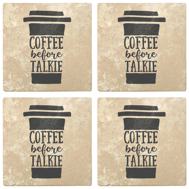 "4"" Absorbent Stone Coffee Gift Coasters, Coffee Before Talkie, 2 Sets of 4, 8 Pieces"