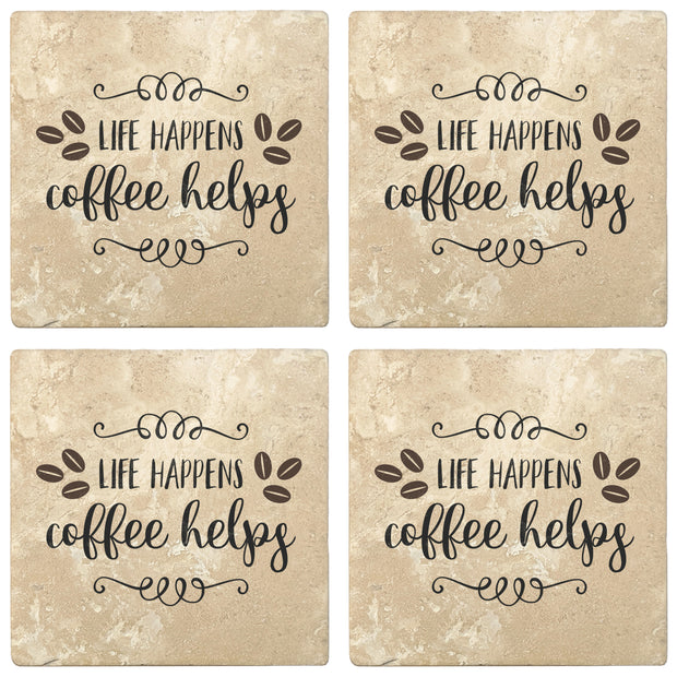 "4"" Absorbent Stone Coffee Gift Coasters, Life Happens Coffee Helps, 2 Sets of 4, 8 Pieces - Christmas by Krebs Wholesale"
