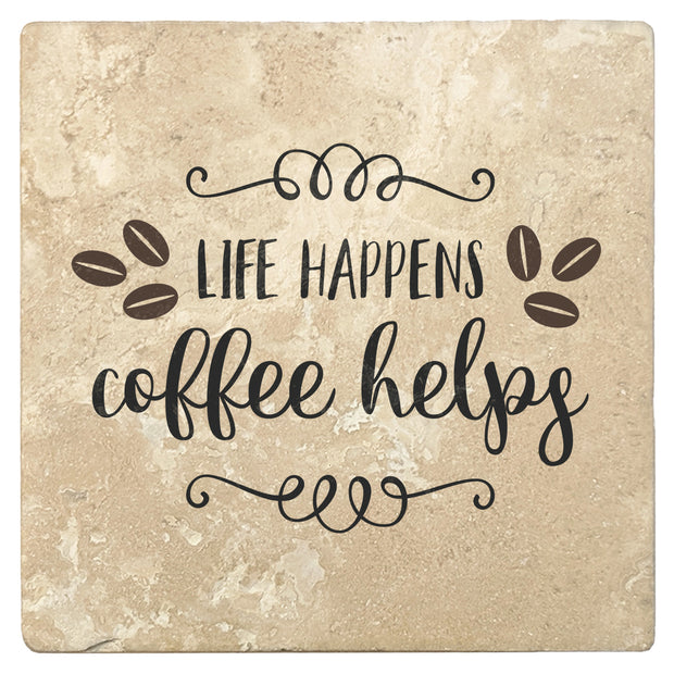 "4"" Absorbent Stone Coffee Gift Coasters, Life Happens Coffee Helps, 2 Sets of 4, 8 Pieces"