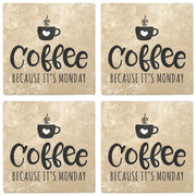 "4"" Absorbent Stone Coffee Gift Coasters, Coffee Because It's Monday, 2 Sets of 4, 8 Pieces - Christmas by Krebs Wholesale"