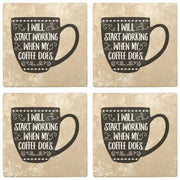 "4"" Absorbent Stone Coffee Gift Coasters, I Work When My Coffee Does, 2 Sets of 4, 8 Pieces"