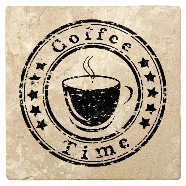 "4"" Absorbent Stone Coffee Gift Coasters, Coffee Time, 2 Sets of 4, 8 Pieces"