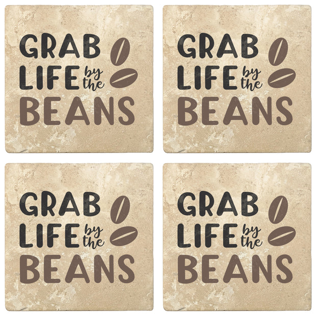 "4"" Absorbent Stone Coffee Gift Coasters, Grab Life By The Beans, 2 Sets of 4, 8 Pieces"