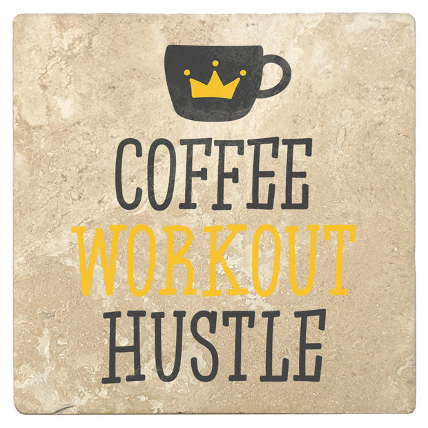 "4"" Absorbent Stone Coffee Gift Coasters, Coffee Workout Hustle, 2 Sets of 4, 8 Pieces"