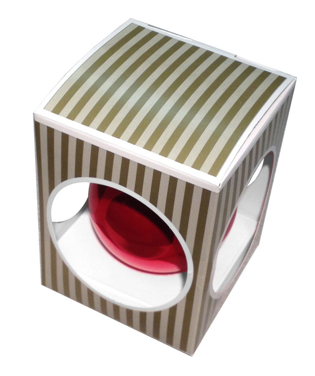 "Ball Ornament Box for 3 1/4"" (80mm) Ornaments, Gold/White, 1/Box, 250/Case, 250 Pieces"