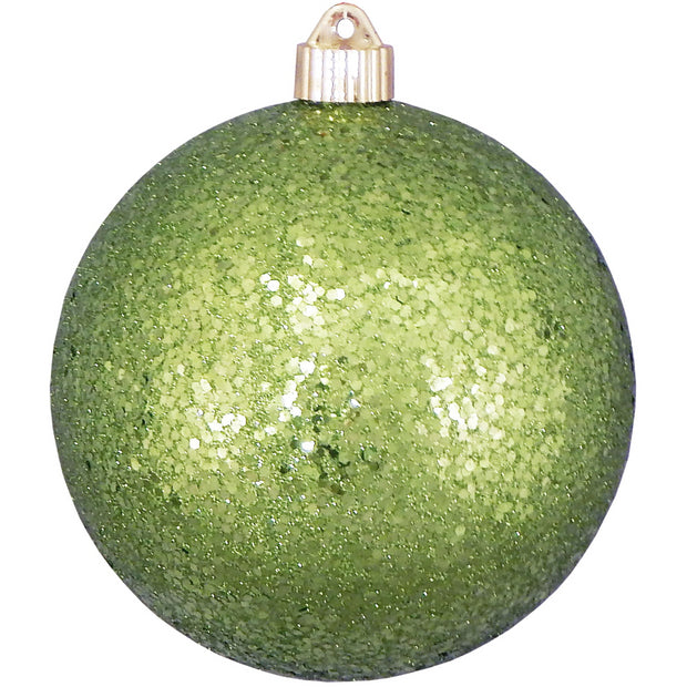 "6"" (150mm) Large Commercial Shatterproof Ball Ornaments, Lime Glitz, 1/Box, 12/Case, 12 Pieces - Christmas by Krebs Wholesale"