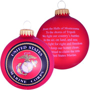 "3 1/4"" (80mm) Ball Ornaments, US Marine Corps, Flame Red, 1/Box, 12/Case, 12 Pieces"