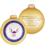 "3 1/4"" (80mm) Ball Ornaments, US Navy, Gold, 1/Box, 12/Case, 12 Pieces"