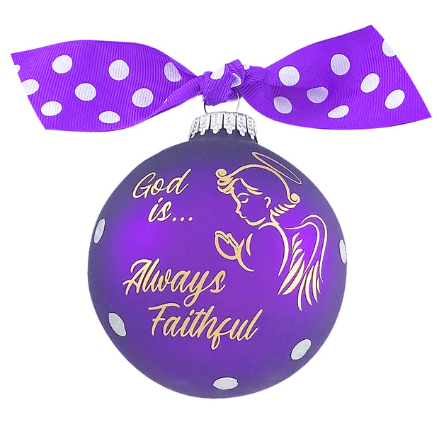 "3 1/4"" (80mm) Hugs Specialty Gift Ornaments, God is Always Faithful, Purple Magic, 1/Box, 12/Case, 12 Pieces - Christmas by Krebs Wholesale"