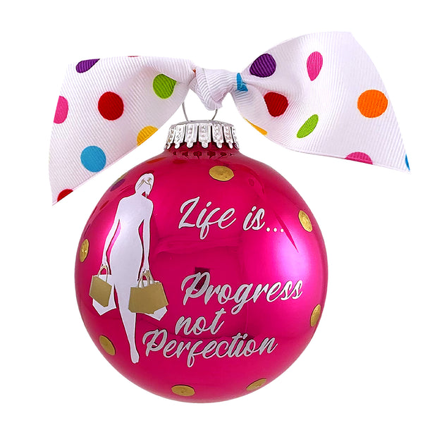 "3 1/4"" (80mm) Hugs Specialty Gift Ornaments, Life is Progress not Perfection, Very Berry Shine, 1/Box, 12/Case, 12 Pieces - Christmas by Krebs Wholesale"