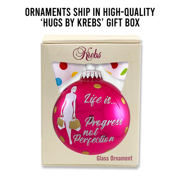 "3 1/4"" (80mm) Personalizable Hugs Specialty Gift Ornaments, Life is Progress not Perfection, Very Berry Shine, 1/Box, 12/Case, 12 Pieces - Christmas by Krebs Wholesale"