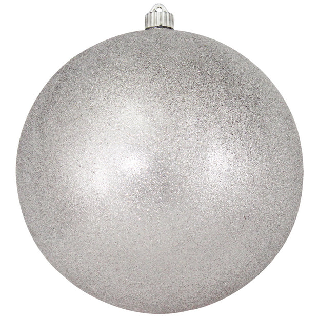 "10"" (250mm) Giant Commercial Shatterproof Ball Ornament, Silver Glitter, Case, 4 Pieces - Christmas by Krebs Wholesale"