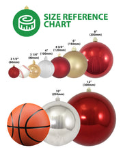 "6"" (150mm) Commercial Shatterproof Ball Ornament, Candy Red, 2 per Bag, 6 Bags per Case, 12 Pieces"