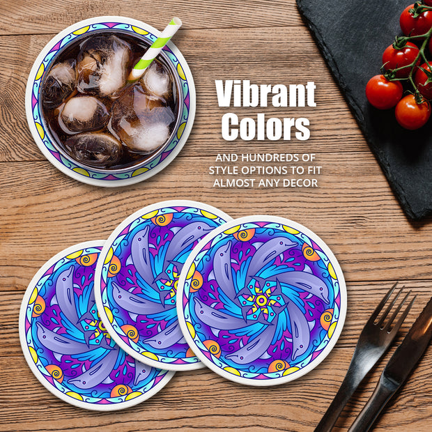 "4"" Round Ceramic Coasters - Mandala Panda, 4/Box, 2/Case, 8 Pieces"