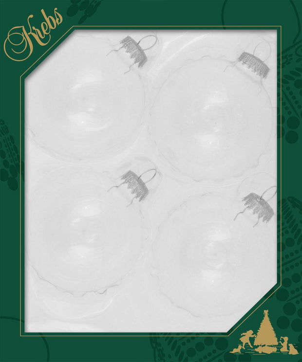 "3 1/4"" (80mm) Ball Ornaments, Silver Caps, Clear/Multi, 4/Box, 12/Case, 48 Pieces - Christmas by Krebs Wholesale"