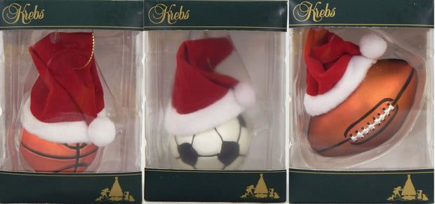 "3 3/4"" (95mm) Sports Ball with Santa Hats Assortment Figurine Ornaments, 12/Box, 1/Case, 12 Pieces - Christmas by Krebs Wholesale"