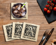 "4"" Personalized Absorbent Stone Monogram Coasters, Onyx Black, 2 Sets of 4, 8 Pieces - Christmas by Krebs Wholesale"