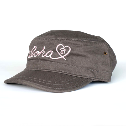 Grey/Pink Aloha Military Hat