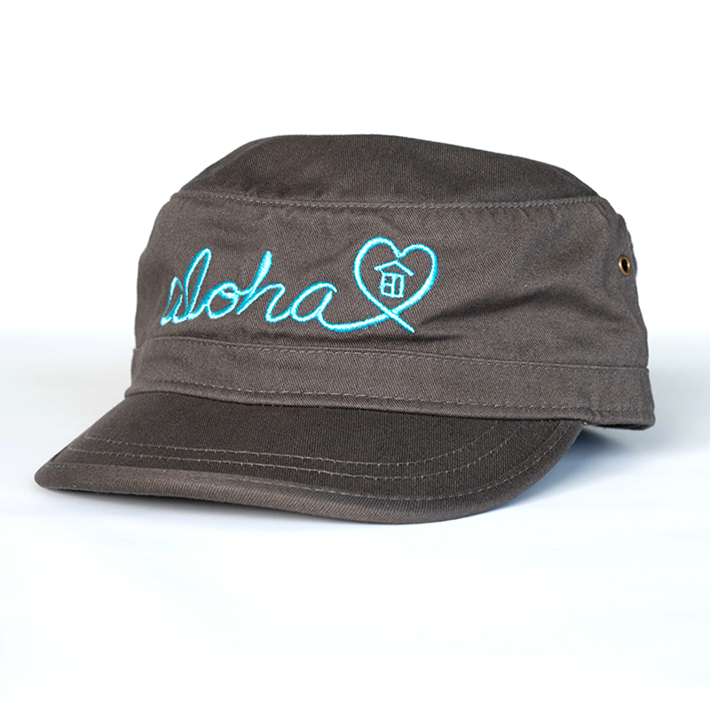 Grey/Blue Aloha Military Hat