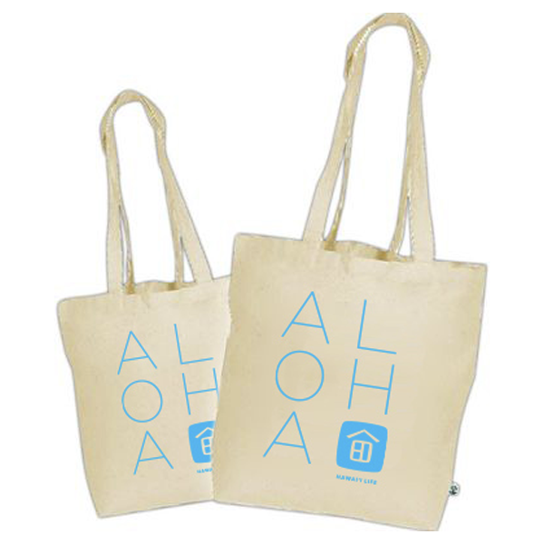 Canvas ALOHA Tote with Blue Logo