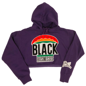 """Support Black Businesses"" Crop Top Hoodie PURPLE (PREORDER)"