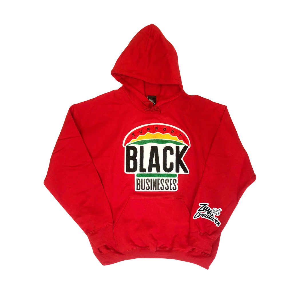 "ZC ""Support Black Businesses"" Hoodie (Red) PREORDER"