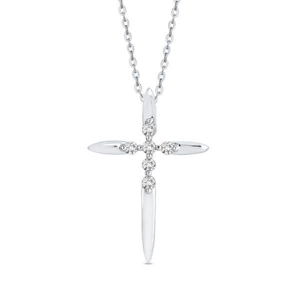 10K White Gold Diamond Cross Pendant With Chain