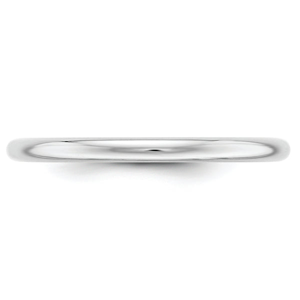 10K White Gold 2mm Half Round Band